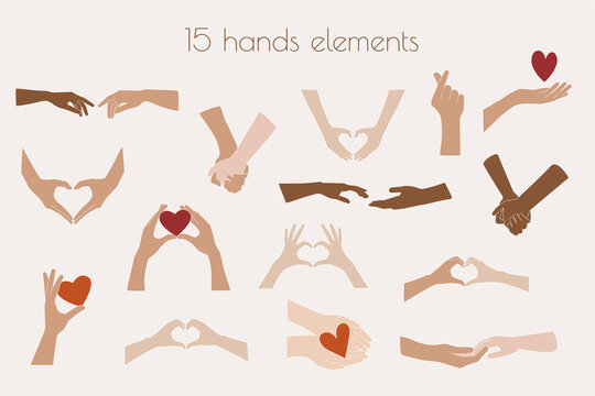 Hand Clipart Vector Illustrations, Heart Shaped Couples Hands, Holding Hands Illustrations, Hands Graphics, Love Valentines Day SVG