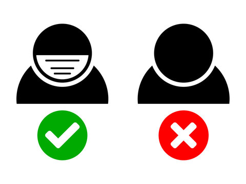 Face Mask Must Be Worn or Masks Required Coronavirus Covid-19 Warning Icon. Vector Image.