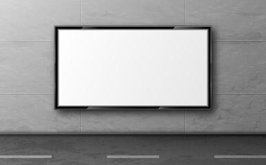 Street billboard for ad, display mockup hang on grey tiled wall along road. Blank white LCD screen, digital monitor for city advertising presentation. Horizontal background realistic 3d vector mock up Fotobehang