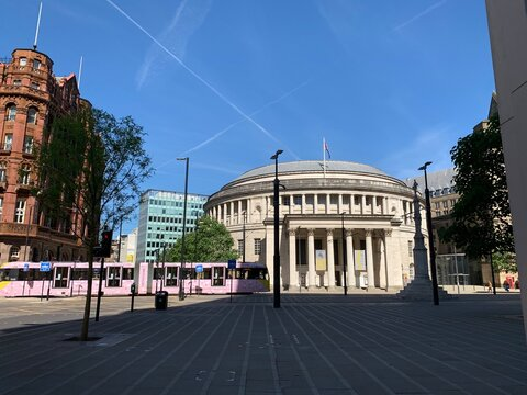Central library in Manchester City centre. Incredible old dome building with a blue sky background.