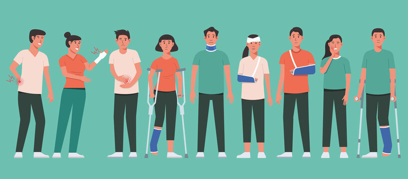 Human body pain and physical injury concept of young man and woman character with fracture or broken arm wearing a sling, leg brace, and neck collar with gypsum and crutch, cartoon vector illustration