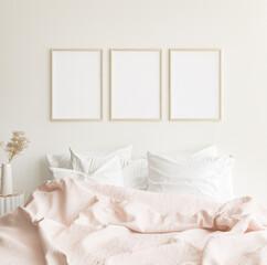 Fototapeta Mockup frames in minimalist modern bedroom interior background, Scandinavian style, 3D render obraz