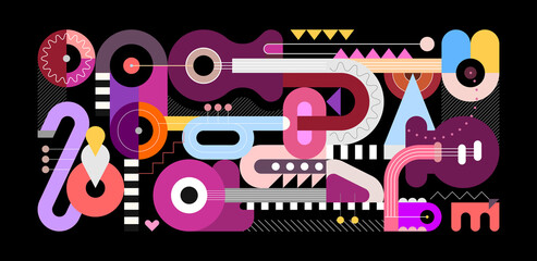 Geometric style graphic illustration, colored flat design of musical instruments isolated on a black background. Abstract art composition of electric guitar, acoustic guitars, trumpet and saxophone.
