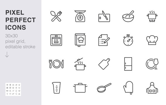 Cooking line icon set. Kitchen tools - pan, pot, dinner utensil, cookbook, chef hat minimal vector illustration. Simple outline sign of food recipe instruction. 30x30 Pixel Perfect, Editable Stroke