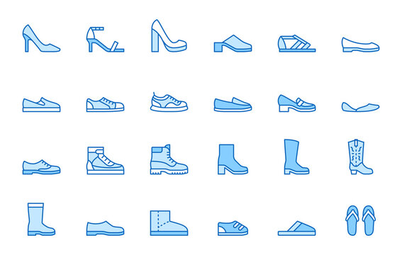 Shoe line icon set. High heels sandal, cowboy boots, hiking footwear, sneakers, slipper minimal vector illustrations. Simple outline signs for fashion application. Blue color, Editable Stroke