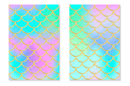 Set of holographic rainbow background. Mermaid gold scales. Hologram print for invitation card.