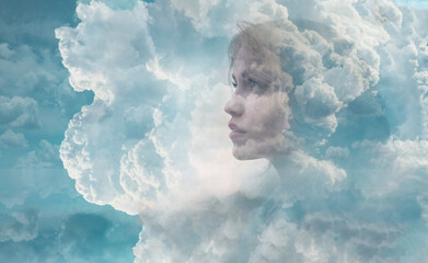 Fototapeta Nature and clouds on blue sky combines with the beauty of young attractive woman. Health concept. obraz
