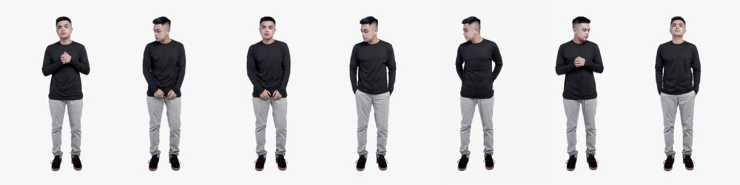 Collection photo of handsome men in black long sleeve t-shirts isolated on plain background.