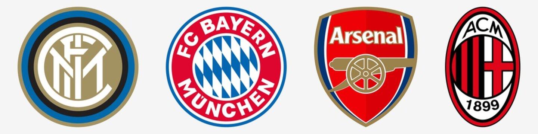 Inter, Milan, Bayern Munchen, Arsenal. Football club logo. Inter and Milan icons. Bayern Munchen and Arsenal vector logo. Editorial. Rivne, Ukraine - January 11, 2020,