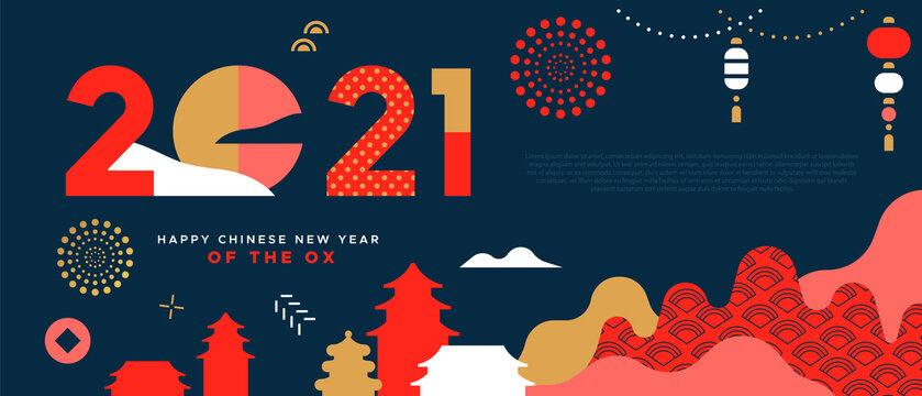 Chinese New Year ox 2021 minimalist city template