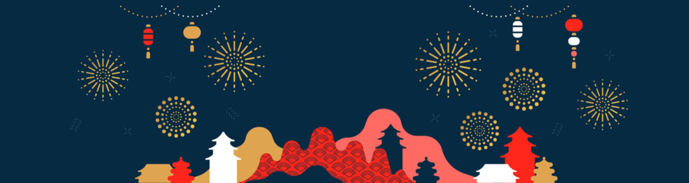 Chinese city background with gold firework sky