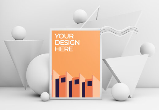Frame Poster Mockup 3 with Geometric Shapes