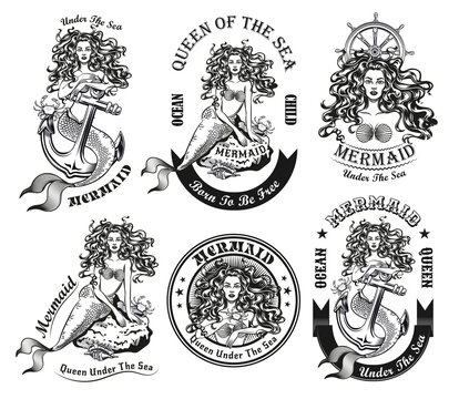 Monochrome beautiful mermaid for tattoo vector illustration set. Retro emblems with long-haired water nymph on rock or anchor. Sea and sailing concept can be used for retro template