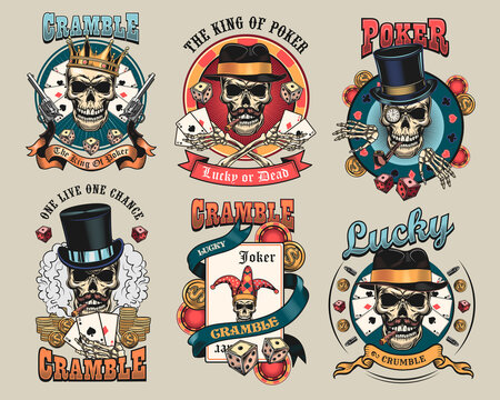 Gangster casino skulls set. Vintage emblems, stickers, prints with playing cards, crown, top hat, smoking cigar. Vector illustration collection for poker club labels, gambling concept