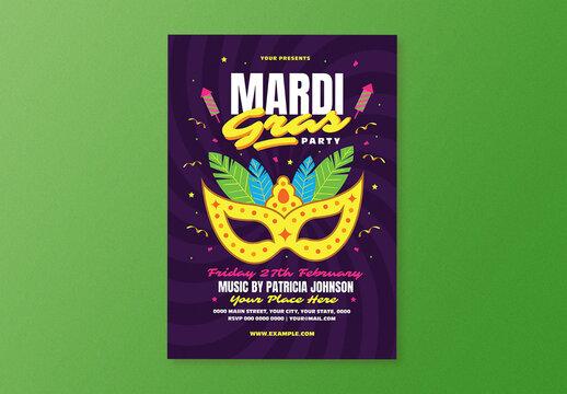 Mardi Grass Party Flyer Layout