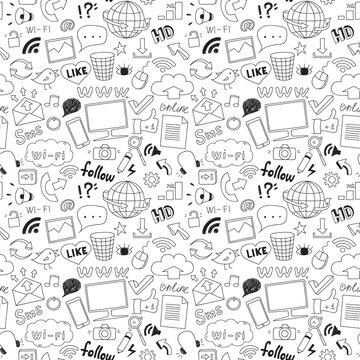 seamless hand drawn social media elements pattern