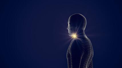 Fototapeta Digital Composite Image Of Robot Against Blue Background obraz