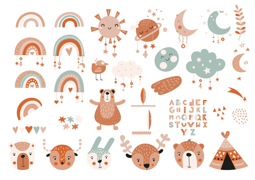Boho woodland animals, boho elements – rainbows, dream catcher, moon, stars, wigwam. Cartoon characters for nursery posters, cards, kids t-shirts. Vector illustration. Isolated on white background.