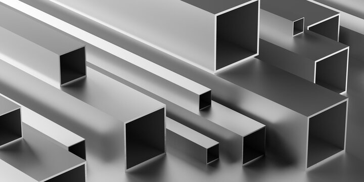 Brushed aluminum square profiles stack or heap frame filling background, metal manufactoring or product concept