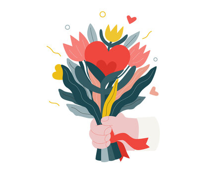 Bouquet - Valentines day graphics. Modern flat vector concept illustration - a hand holding a bunch of flowers with growing hearts. Cute characters in love concept