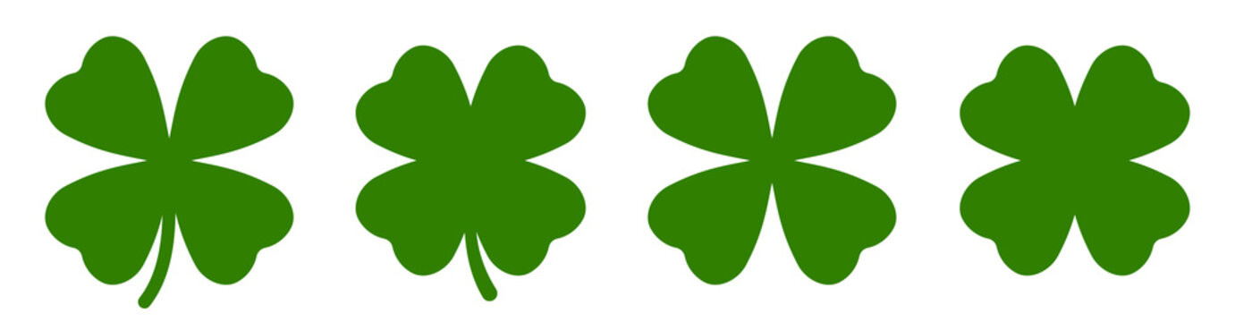Four leaf clover simple icon set vector