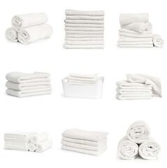 Fototapeta set of white spa Folded clean soft towels on white background