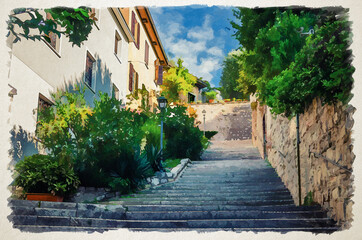Watercolor drawing of Cobblestone staircase with stairs, green trees, bushes and flowers, street lights between stone walls in Brescia city