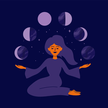Girl holding moon phases in hands. Female nature, cyclicity, menstrual cycle. Womens health, life energy. Modern witch woman. Stars, crescent moon on night sky. Vector illustration for calendar, card