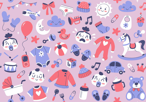 Baby objects seamless pattern with newborn clothes, toys and accessories. Cute hand-drawn vector illustration, perfect for backgrounds, wallpapers and printing surfaces.