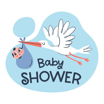 Cute baby card template with a hand drawn stork holding a baby boy.