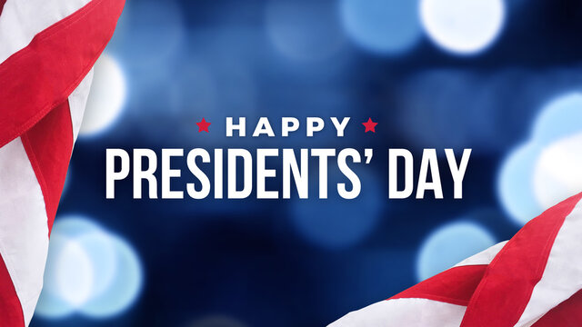 Happy Presidents' Day Text Over Blue Bokeh Lights Texture Background and American Flags