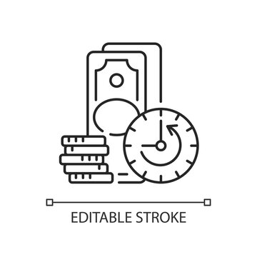 Extension linear icon. Skipping certain immediate payments. Additional facility to loan. Thin line customizable illustration. Contour symbol. Vector isolated outline drawing. Editable stroke