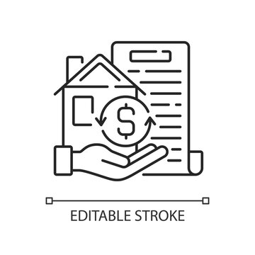 Collateral linear icon. Security for loan repayment. Real estate, assets form. Valuable property. Thin line customizable illustration. Contour symbol. Vector isolated outline drawing. Editable stroke