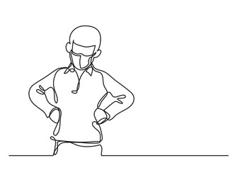 Wall Mural - angry boy wearing face mask with arms on hips - continuous line drawing