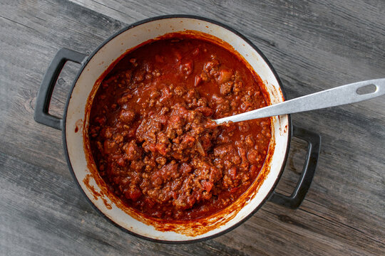 bowl of homemade beanless chili top view