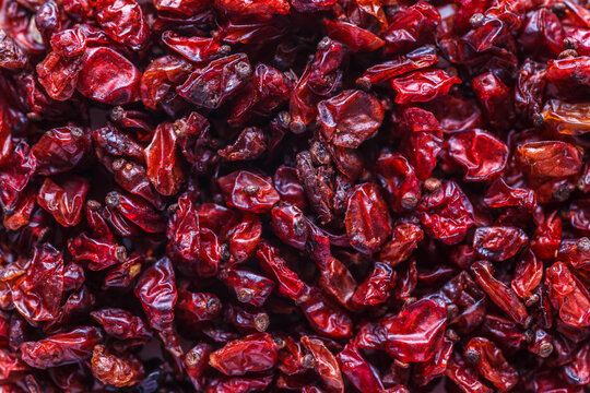 dried barberry berries. A mixture of different spices close up. Textures of colorful spices and condiments.Colorful Herbal and Spices Oriental.Various Indian spices