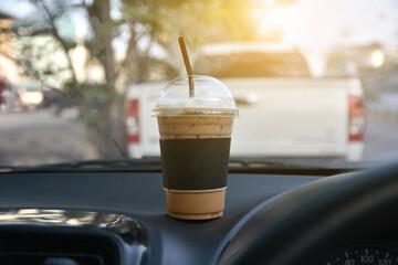 Obraz Close-up Of Coffee On Dashboard - fototapety do salonu