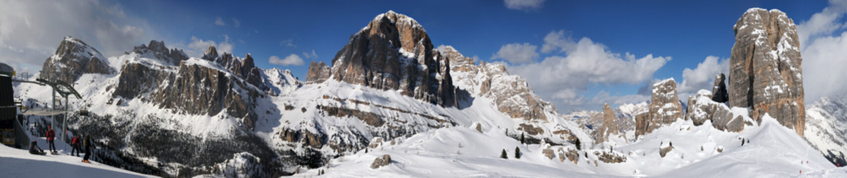 Beautiful winter landscape in the Cortina d'Ampezzo Dolomites. From the left the Tofana di Rozes and to the right the Cinque Torri group. Veneto, Italy.