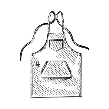 Hand drawn sketch of potter's apron on a white background. Tools for pottery and ceramics. Pottery dishware. Pottery appron