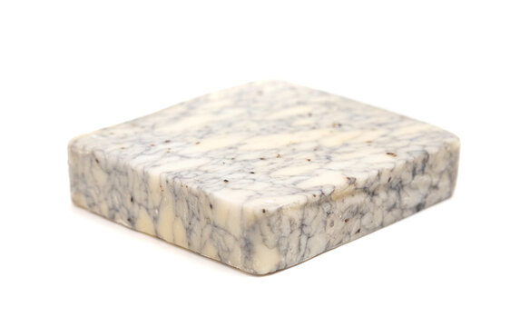 Piece of Marble Blue Cheese Isolated on a White Background
