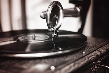 Obraz Close-up Of Vintage Record Player Needle - fototapety do salonu
