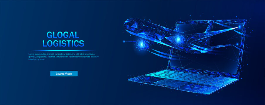 Global logistics. Abstract vector in futuristic polygonal style with wireframe, lowpoly triangles on a blue background with stars. Logistics concept. Transportation and distribution of goods.