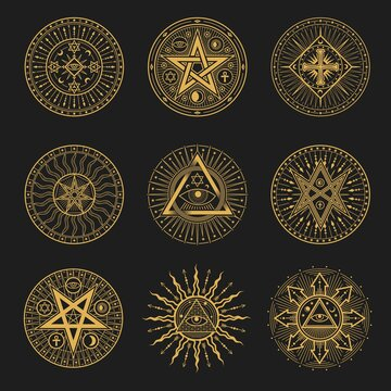 Occult signs, occultism, alchemy and astrology symbols. Vector sacred religion mystic emblems magic eye, masonry pyramid, egyptian ankh cross, sun or moon with rays, pentagrams esoteric icons set