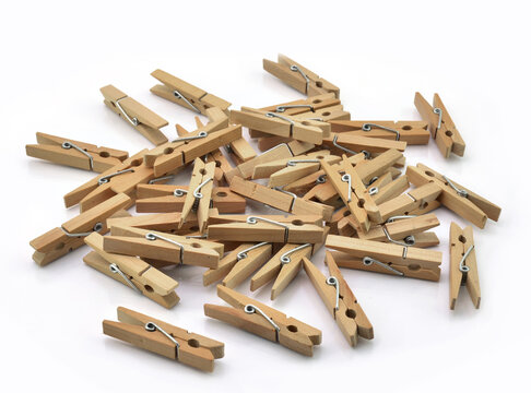 High Angle View Of Wooden Clothespins On Gray Background