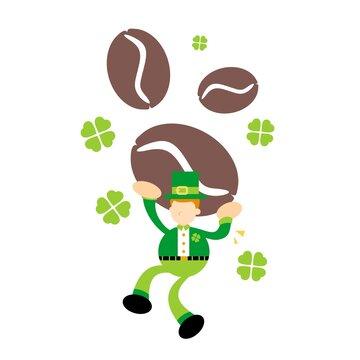 leprechaun celtic and brown coffee bean cartoon doodle flat design style vector illustration