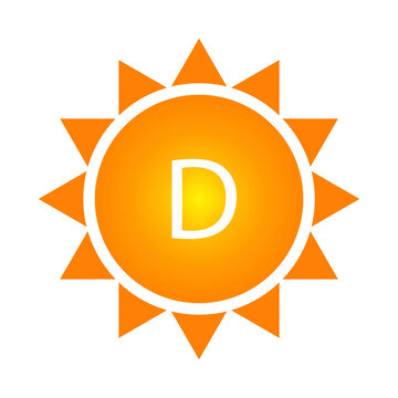Vitamin d sun, great design for any purposes. Food safety. Vector icon. Stock image. EPS 10.
