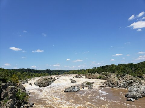 Scenic View Of Great Falls Against Sky
