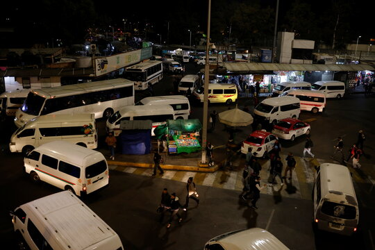 Commuters struggle to get home after a fire in the metro system in Mexico City