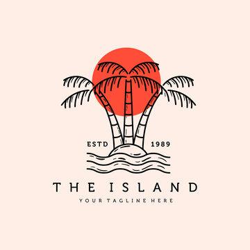 Palm or Coconut Line Art Logo Vector Illustration Design. Vintage Hand Drawn Palm Logo Badge Template Design. Sunset In The Island Logo Concept.