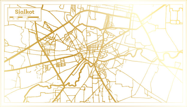 Sialkot Pakistan City Map in Retro Style in Golden Color. Outline Map.